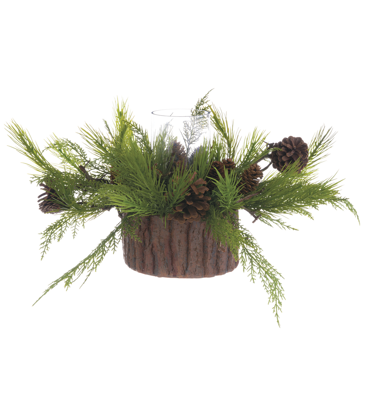Christmas 10.5\u0027\u0027 Pinecones Centerpiece Glass Candle Holder-Green & Brown