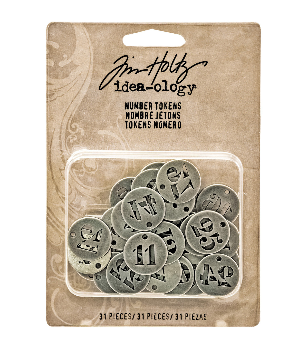 Tim Holtz Idea-Ology 31/Pkg .75\u0022 Number Tokens-Silver Charms
