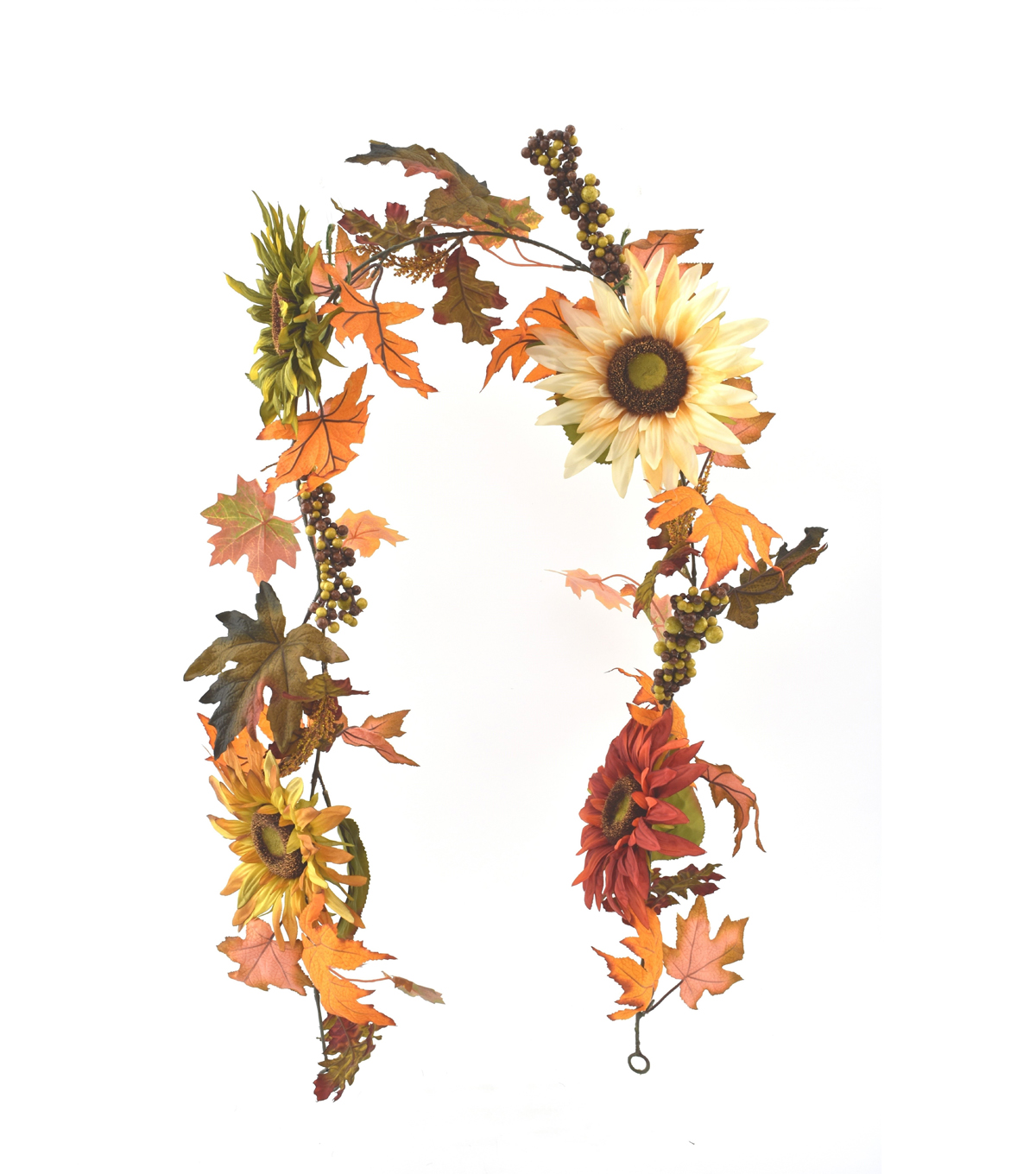 Blooming Autumn Sunflower, Berry & Leaves Garland-Multi