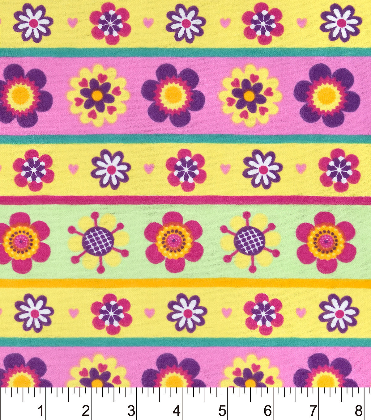Snuggle Flannel Fabric -Flower Power Stripe