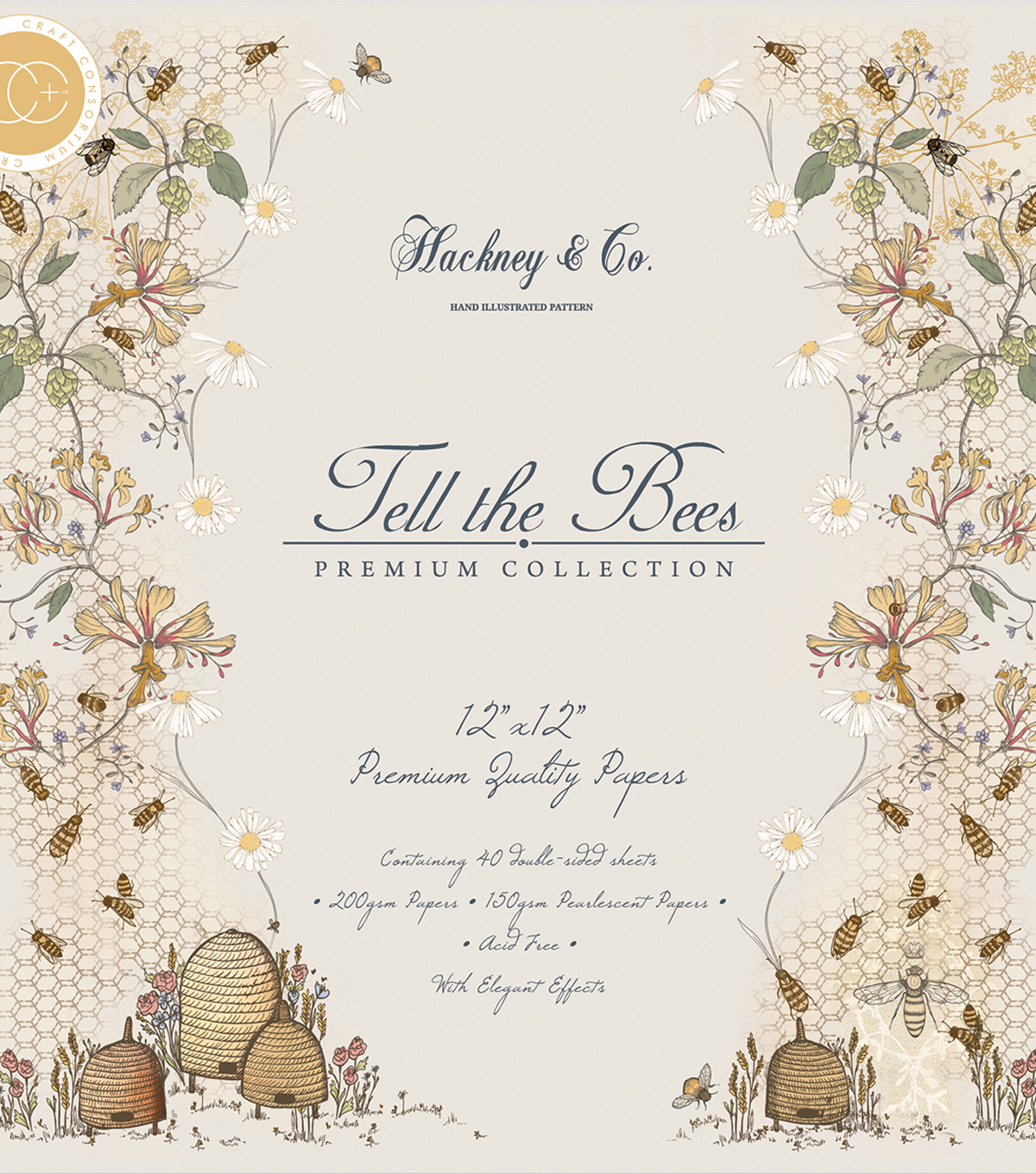 Craft Consortium Double-Sided Paper Pad 12\u0022X12\u0022-Tell The Bees