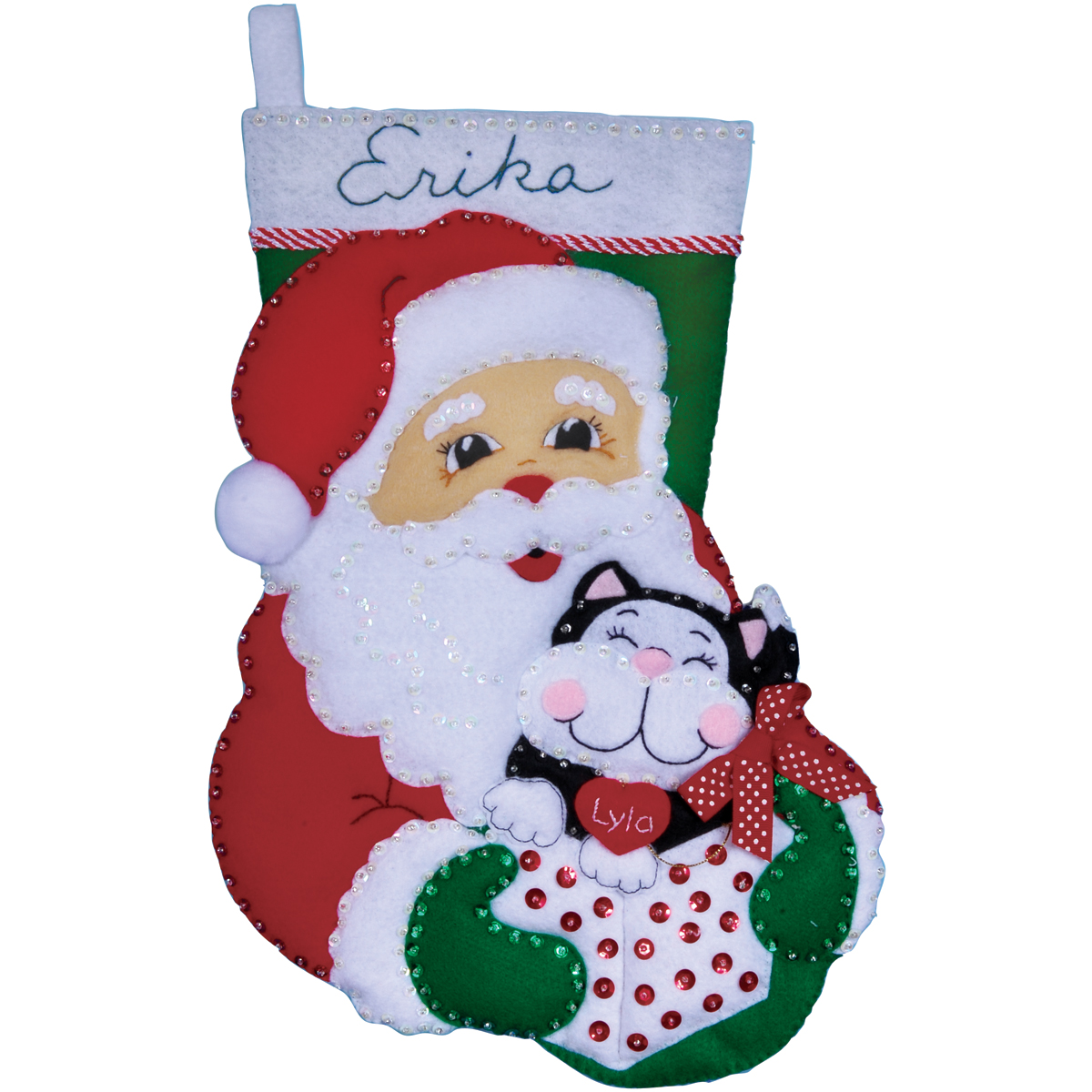 Design Works Felt Applique Kit Santa& Kitten Stocking