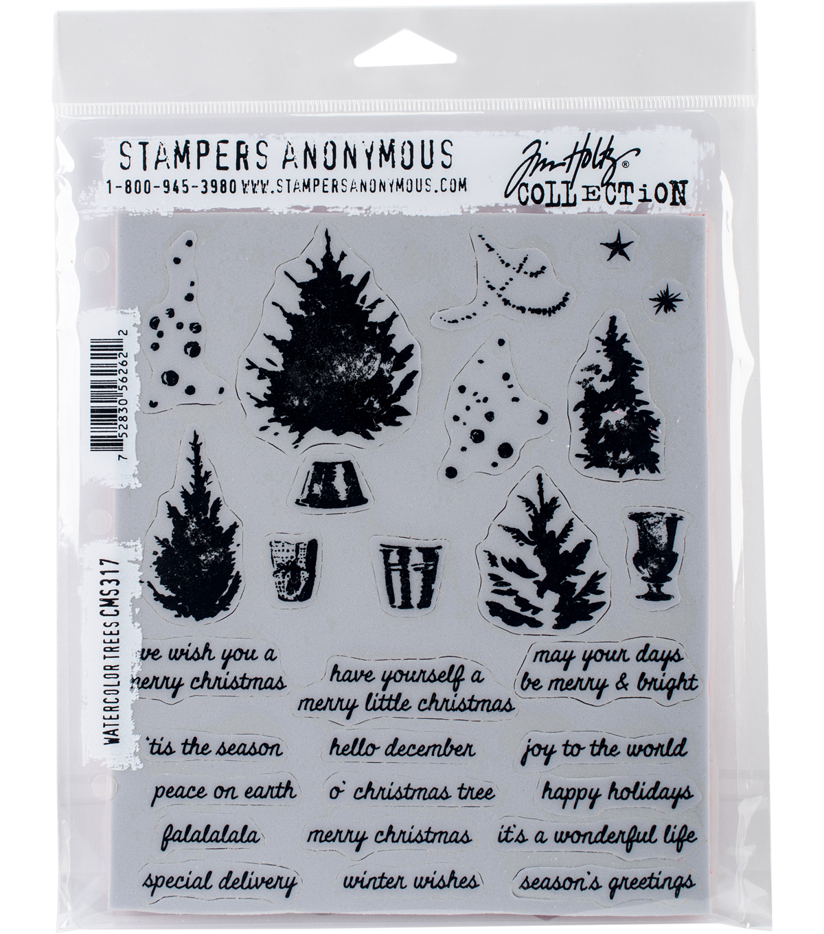 Stampers Anonymous Tim Holtz Cling Stamps-Watercolor Trees