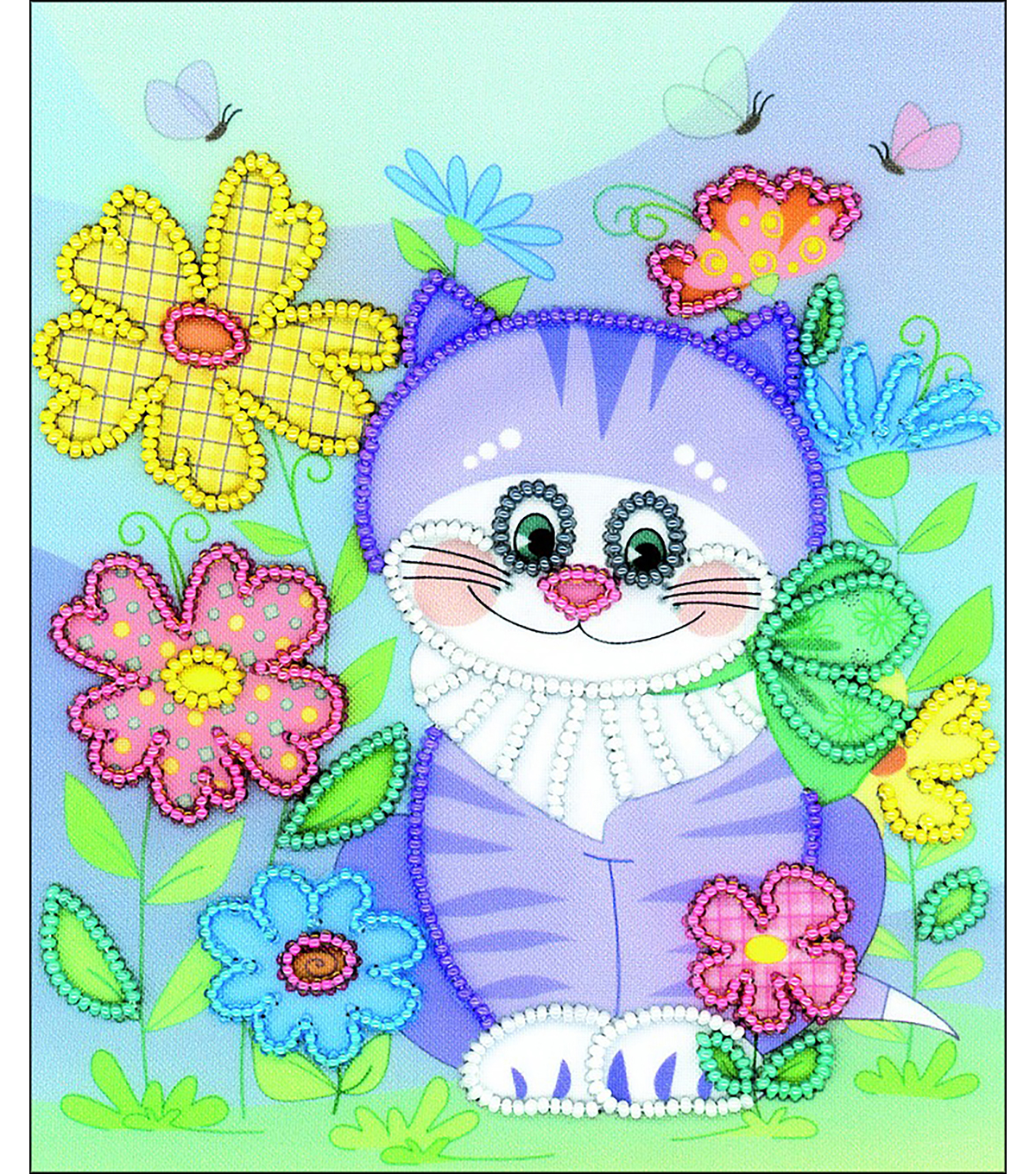 RIOLIS Create it Yourself 6\u0027\u0027x7\u0027\u0027 Beaded Embroidery Kit-Kitten