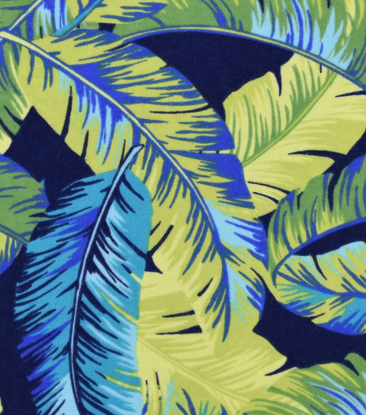Snuggle Flannel Print Fabric Tropical Leaves