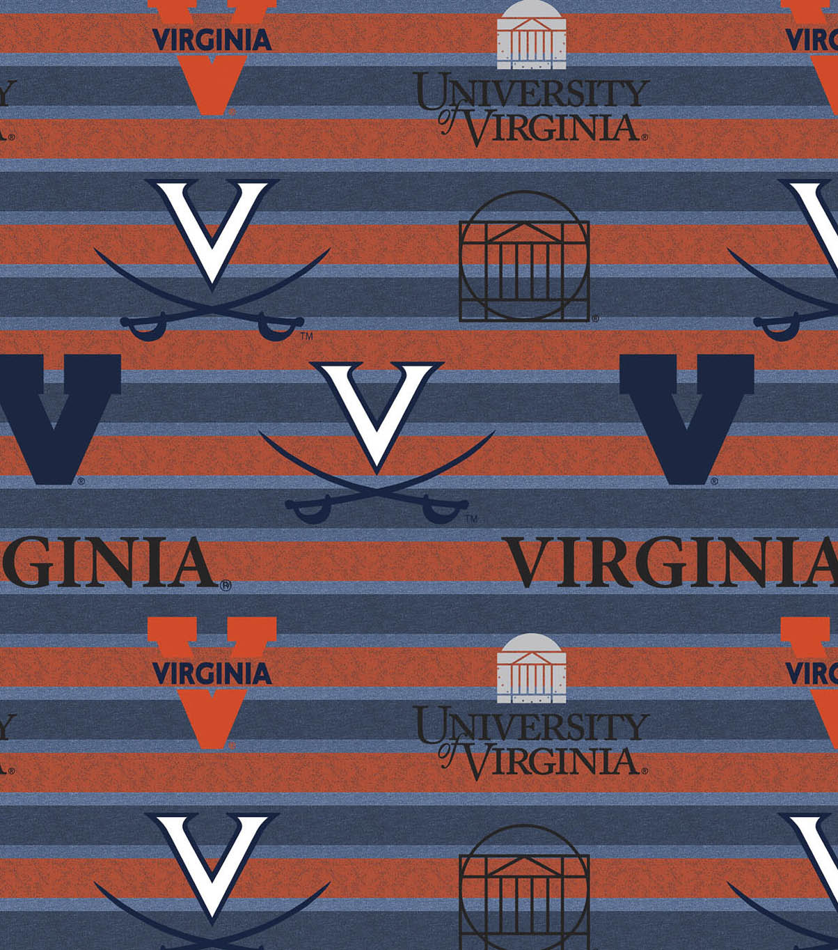 University of Virginia Cavaliers Fleece Fabric -Polo Stripe