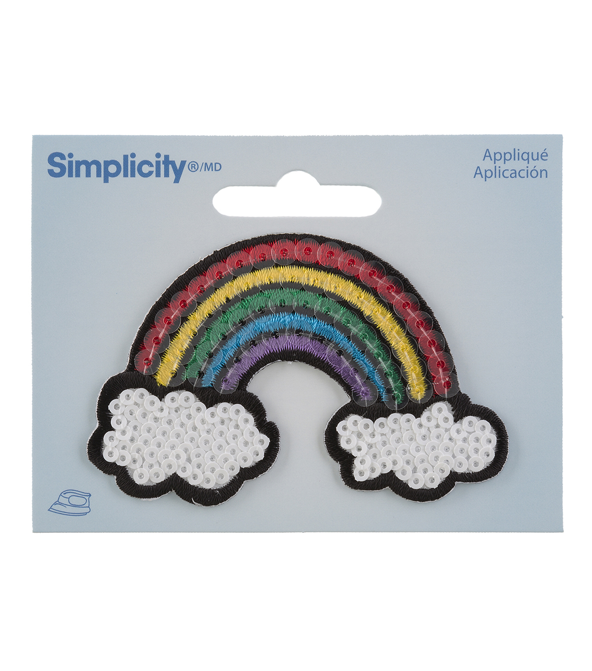 Simplicity Rainbow Iron-on Applique with Sequins-Multi