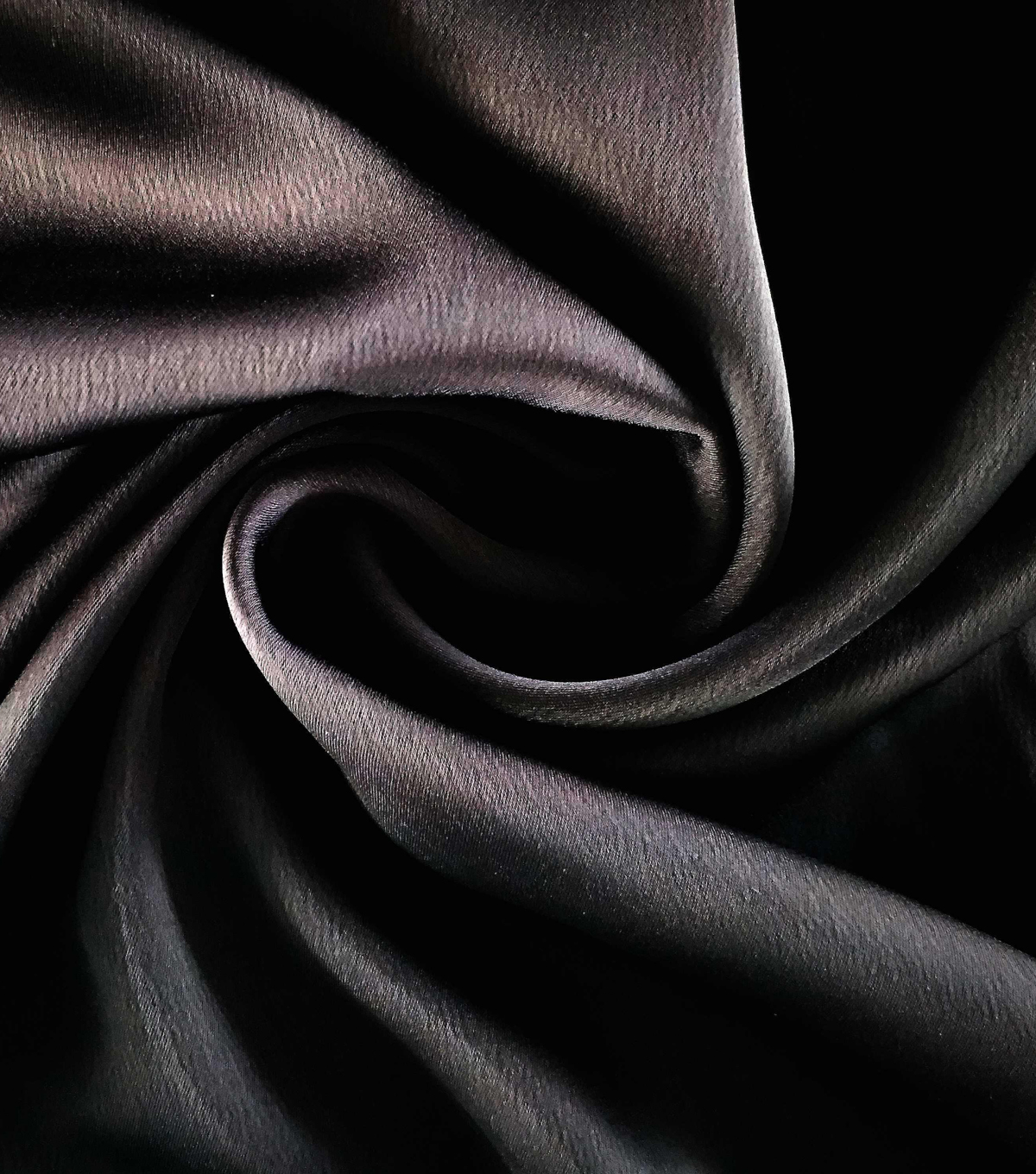 Silky Stretch Satin Fabric-Textured Solids, Black