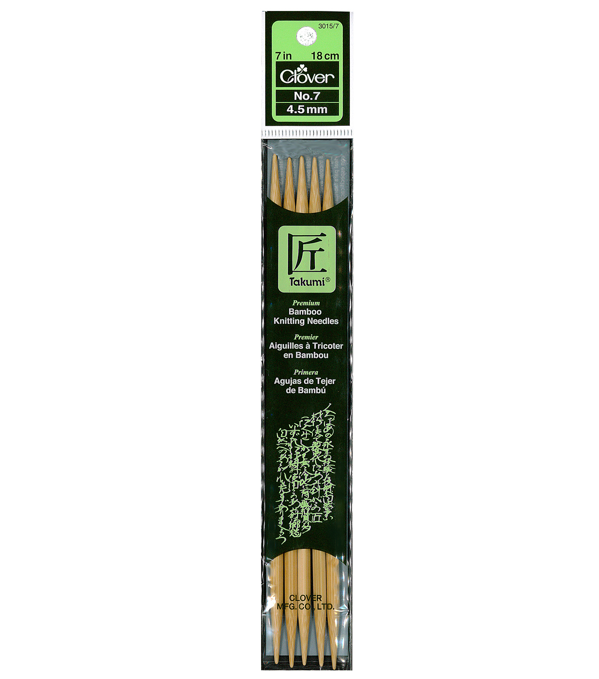 Clover Bamboo Double Point Knitting Needles 7\u0022-Size 7