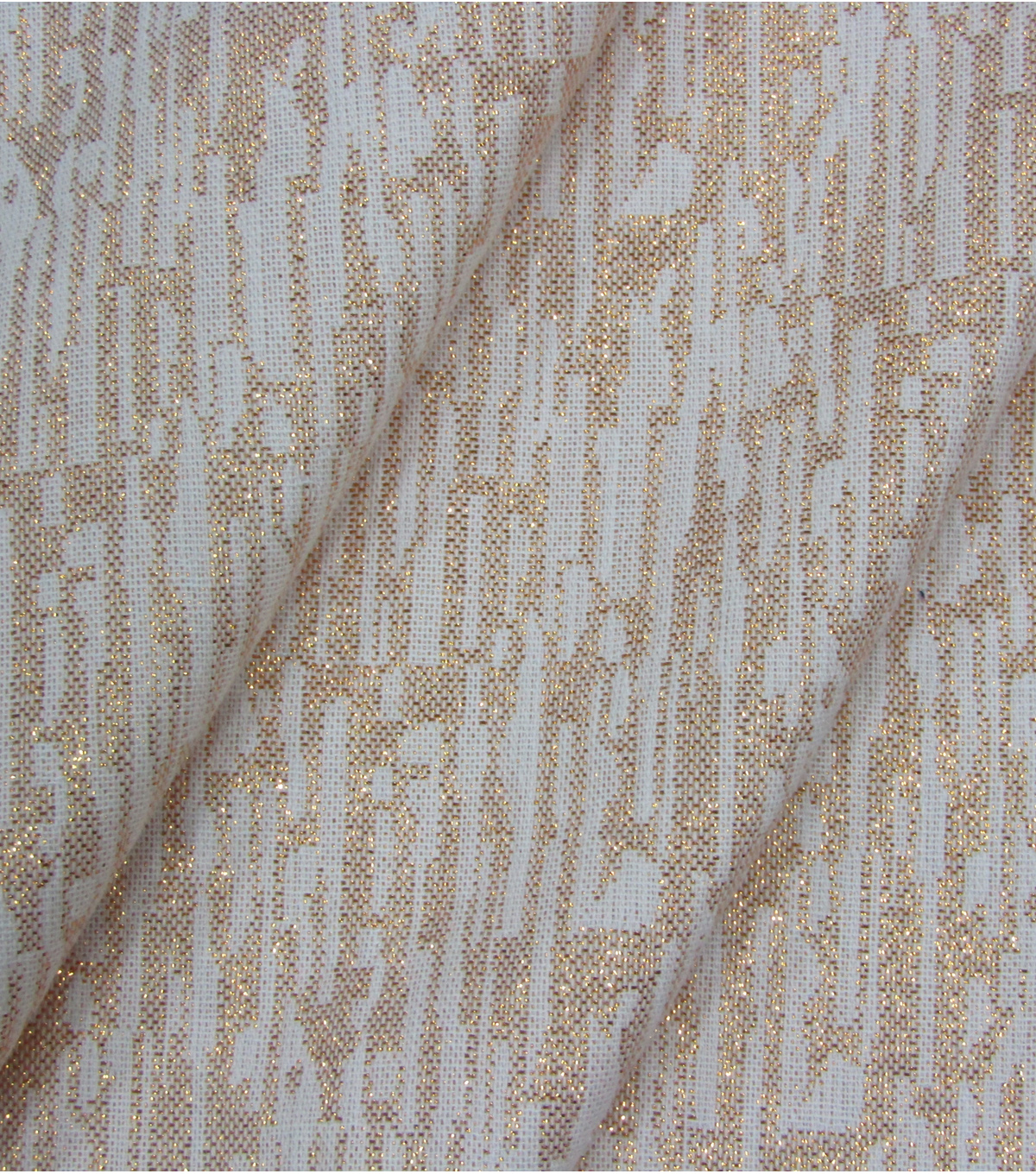 Lurex Christmas Cotton Fabric-Ivory