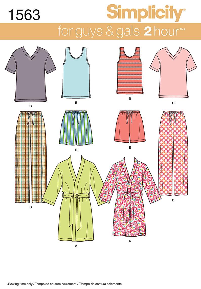 Mens sewing patterns joann simplicity pattern 1563a adult teens sleepwear size xs s m l xl jeuxipadfo Image collections