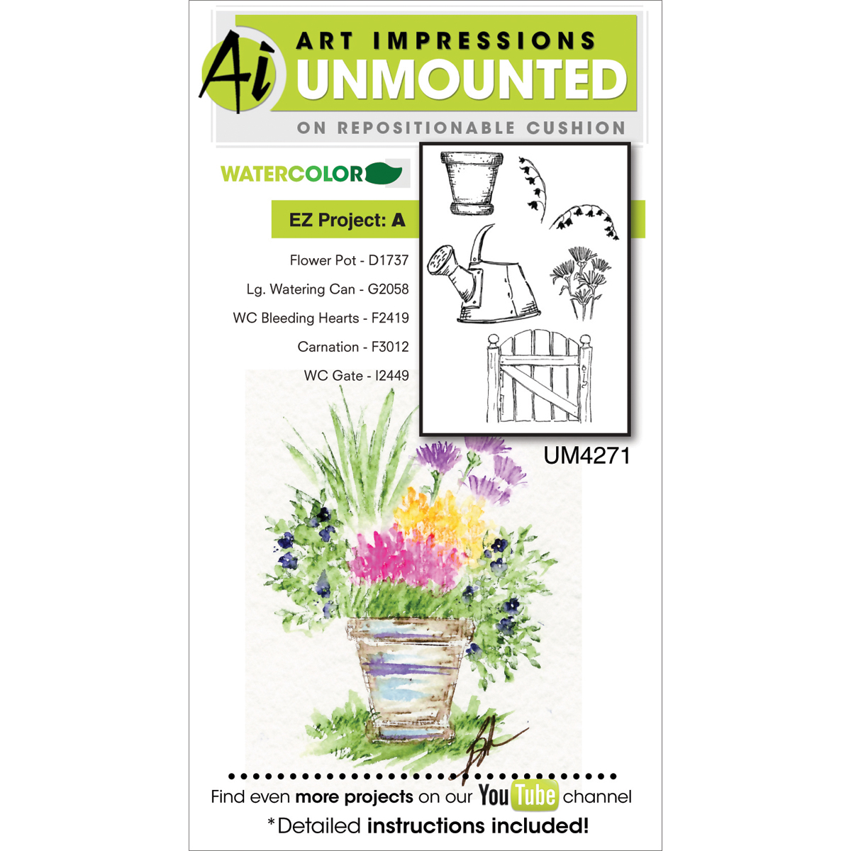 Art Impressions Watercolor Cling Rubber Stamps 4\u0022X7\u0022-EZ Project A