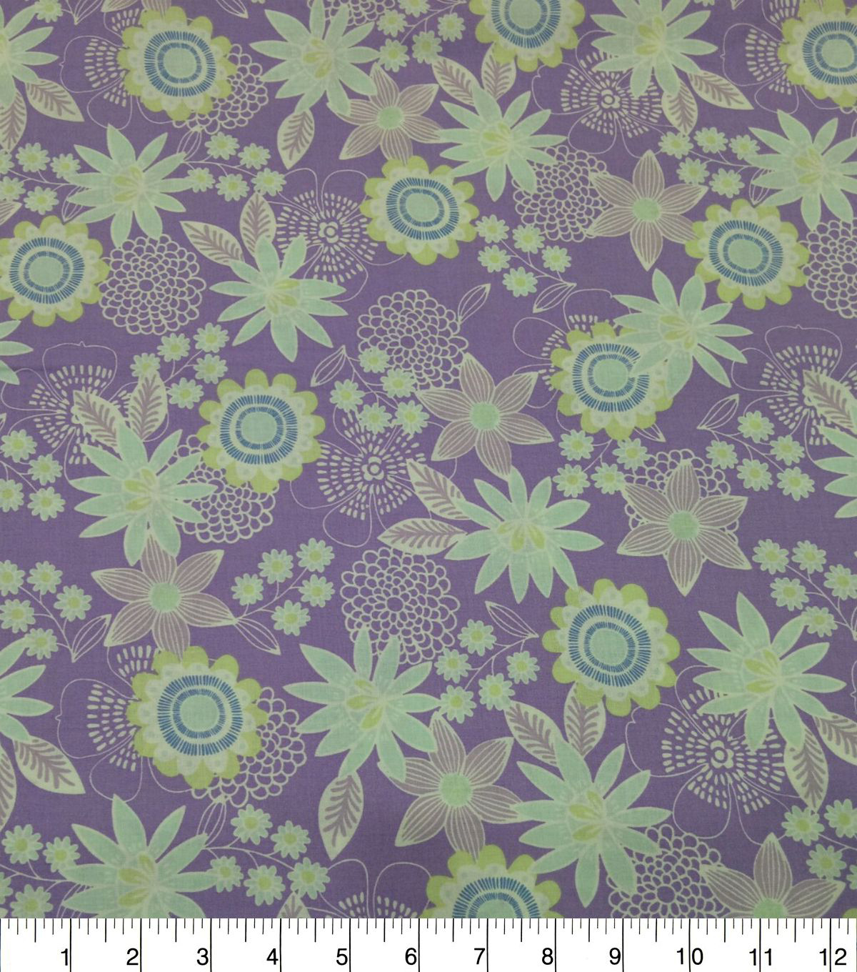 Quilter\u0027s Showcase Cotton Fabric-Large Floral Lavender Mint