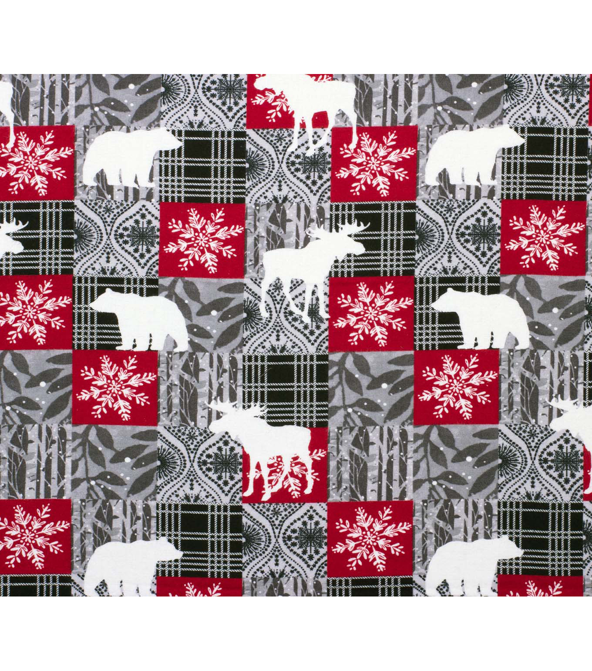 Super Snuggle Flannel Fabric-Bear Moose Black Patchwork