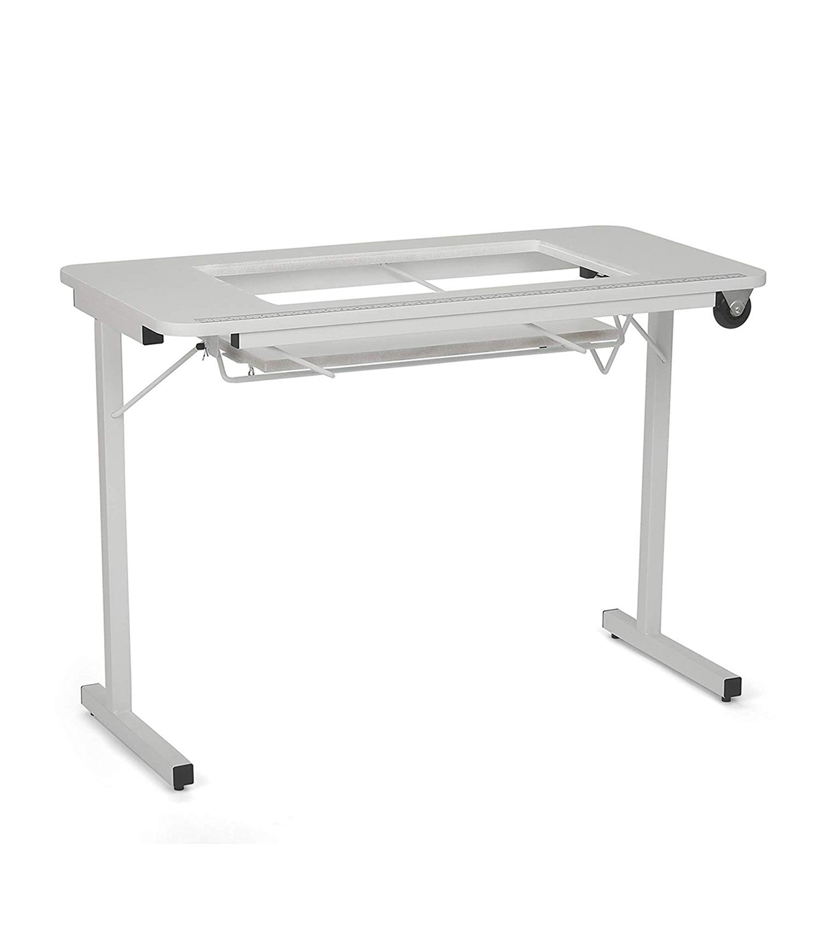 Arrow Homespun Sewing Table With Wheels White
