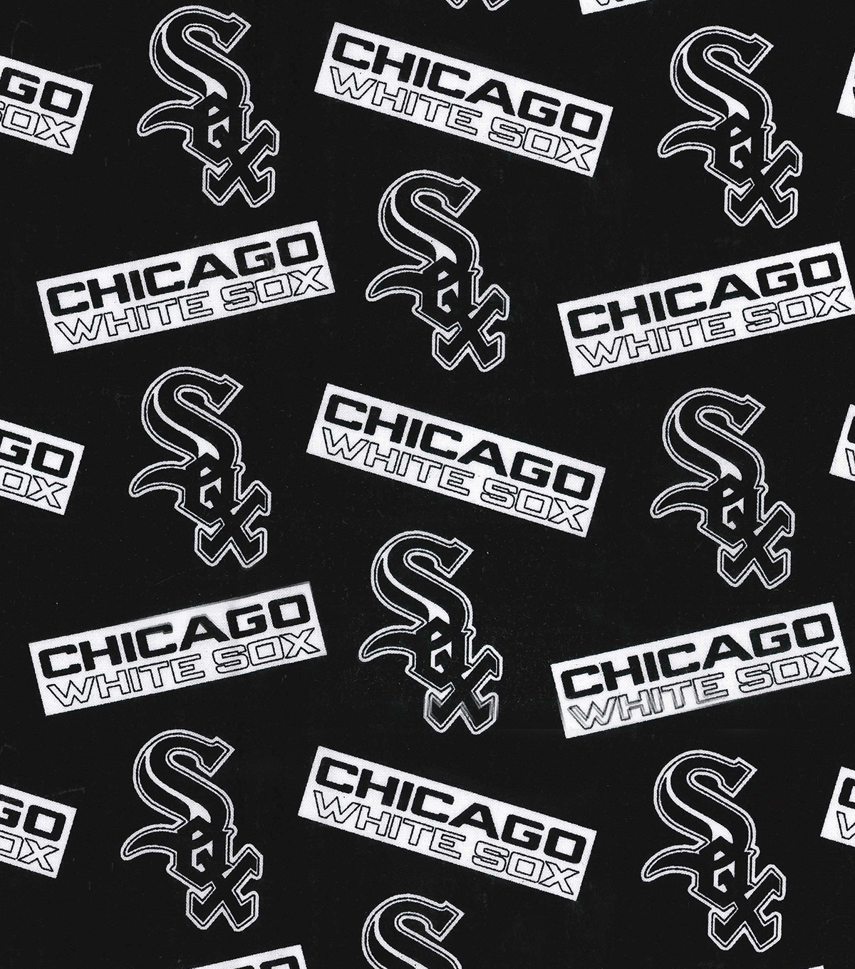Chicago White Sox Cotton Fabric -Black