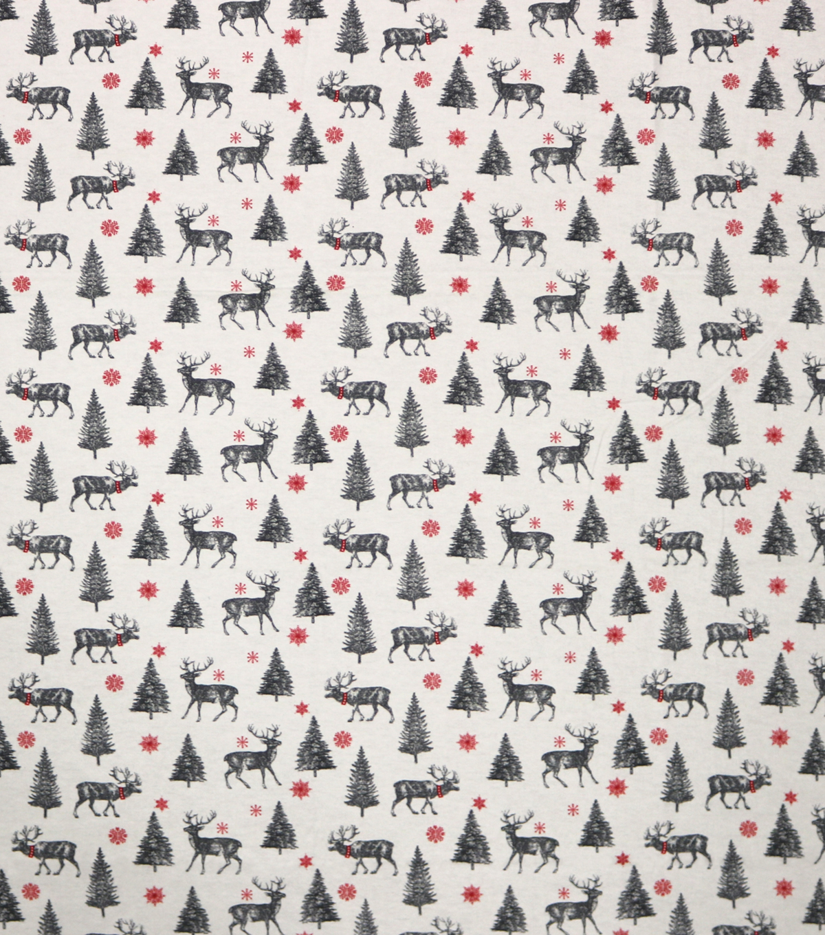 Super Snuggle Flannel Fabric-Black & White Deer and Trees
