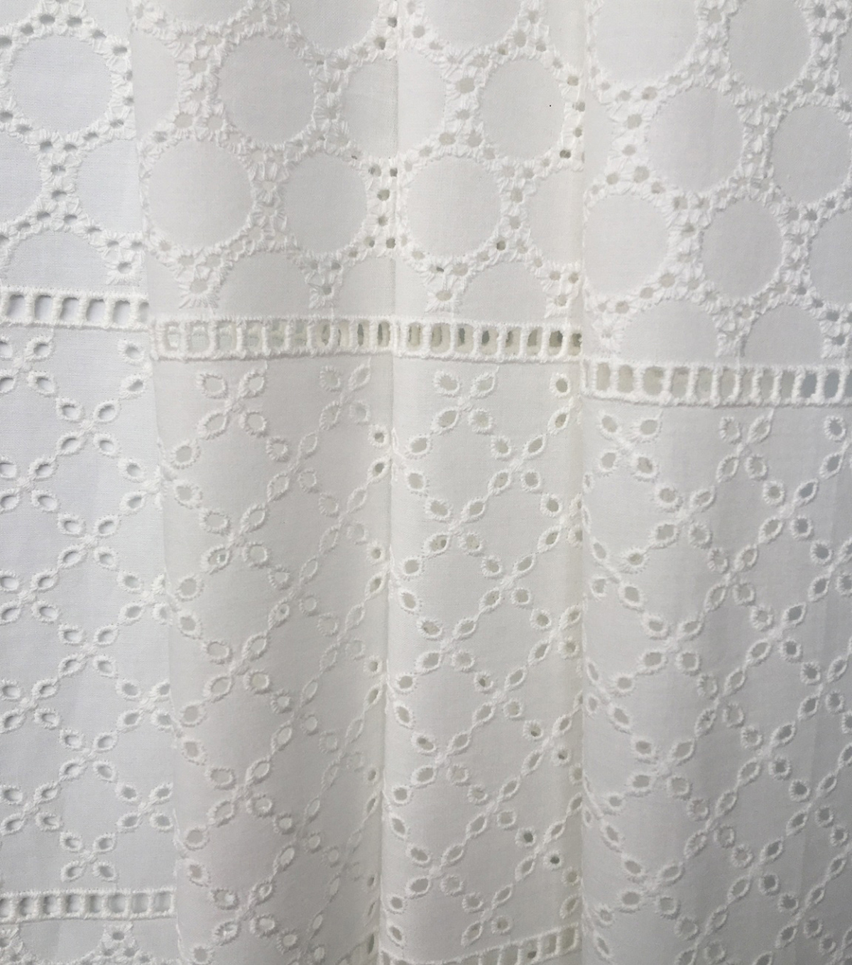 Spring Garden Linear Cotton Eyelet Fabric-White