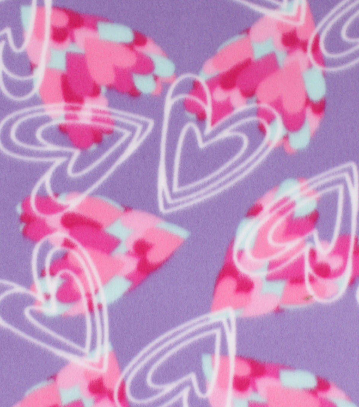 Valentine\u0027s Day Blizzard Fleece Fabric-Sketched Hearts on Purple