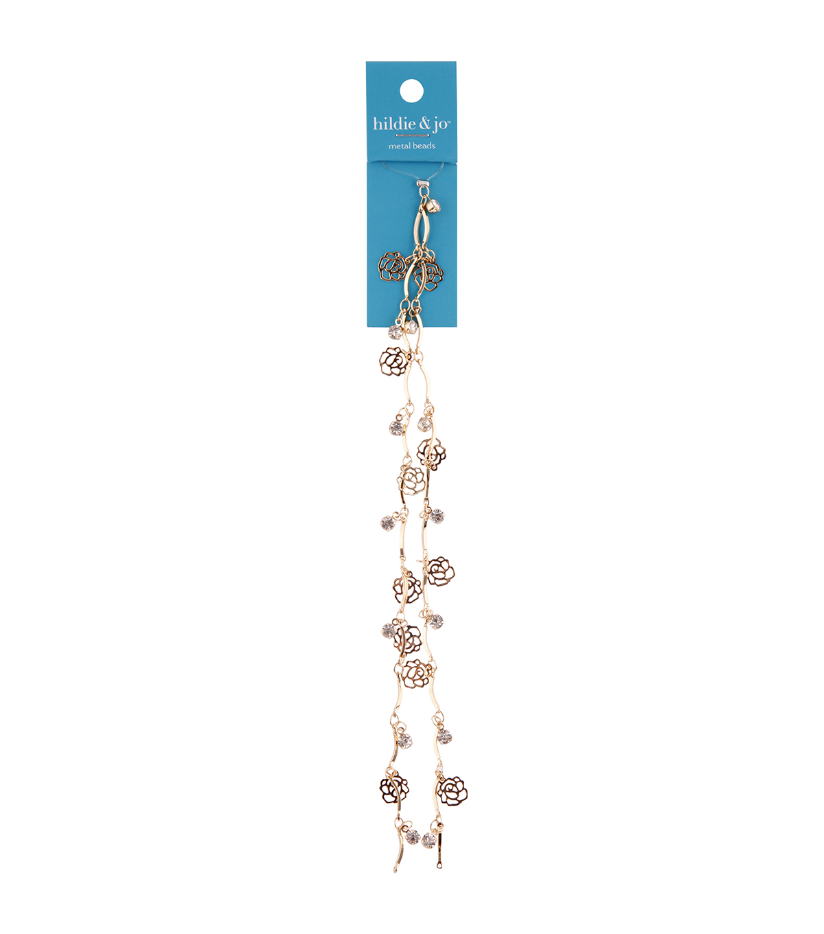 hildie & jo 14\u0022 Metal Rose Beads on Gold Chain