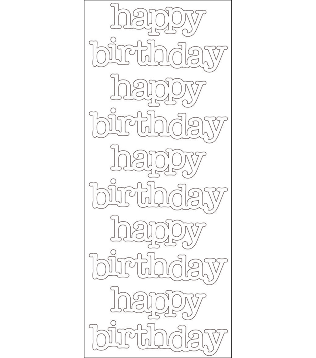 Doodles Cardstock Stickers-Lily White Happy Birthday