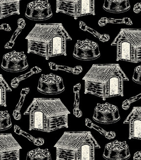 Snuggle Flannel Fabric -Dog Houses on Black