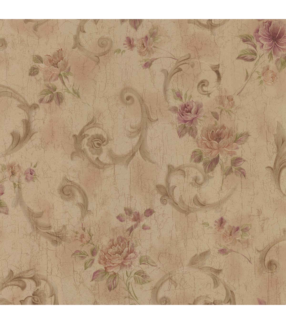 Julietta Brass Floral Scroll Wallpaper