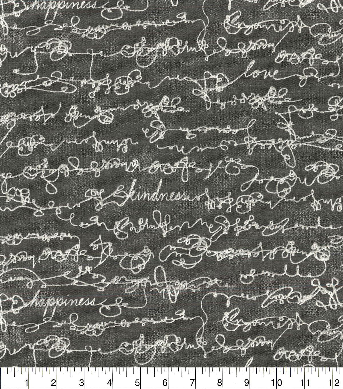 Ellen Degeneres Upholstery Fabric 54 U0027 Charcoal Love Script