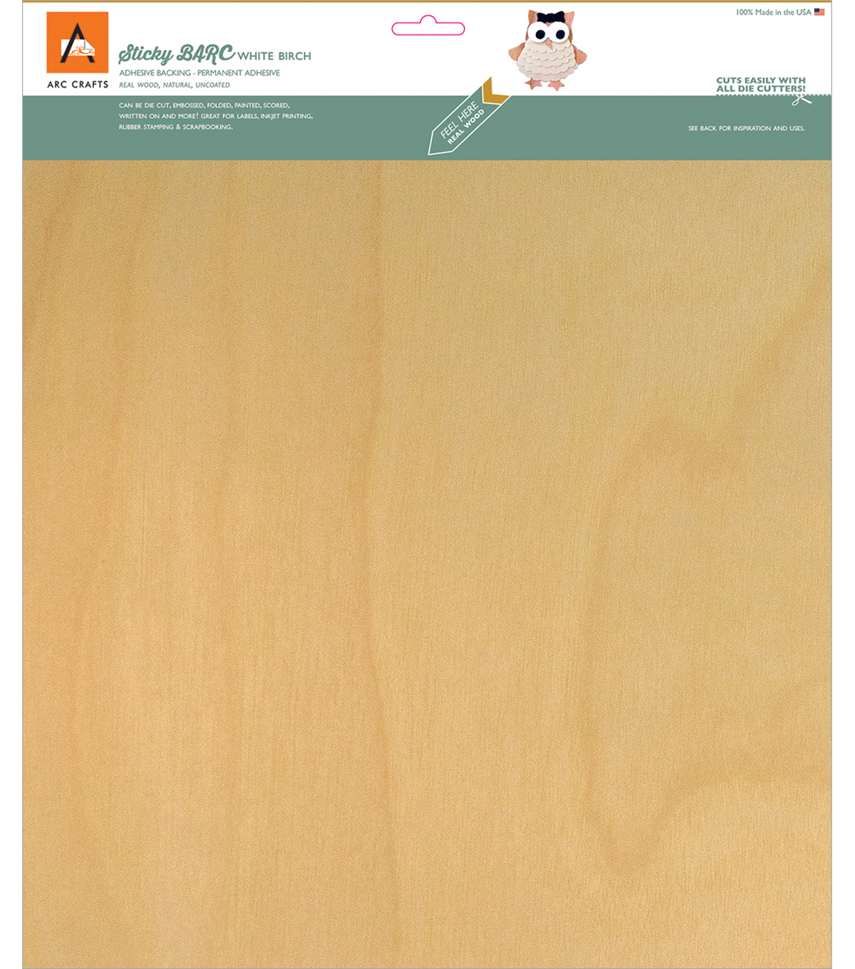 Arc Crafts BARC Wood Sheet With Adhesive Backing 12\u0027\u0027x12\u0027\u0027