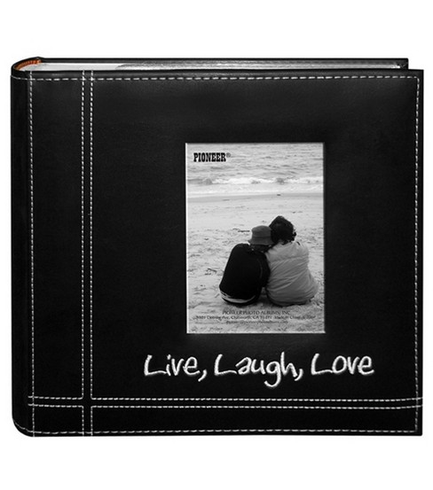 Embroidered Stitched 9\u0022X9\u0022 Leatherette Photo Album-Black Live/Laugh/Love