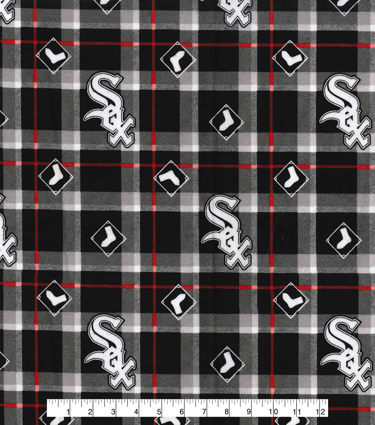 Chicago White Sox Flannel Fabric 42\u0022-Plaid