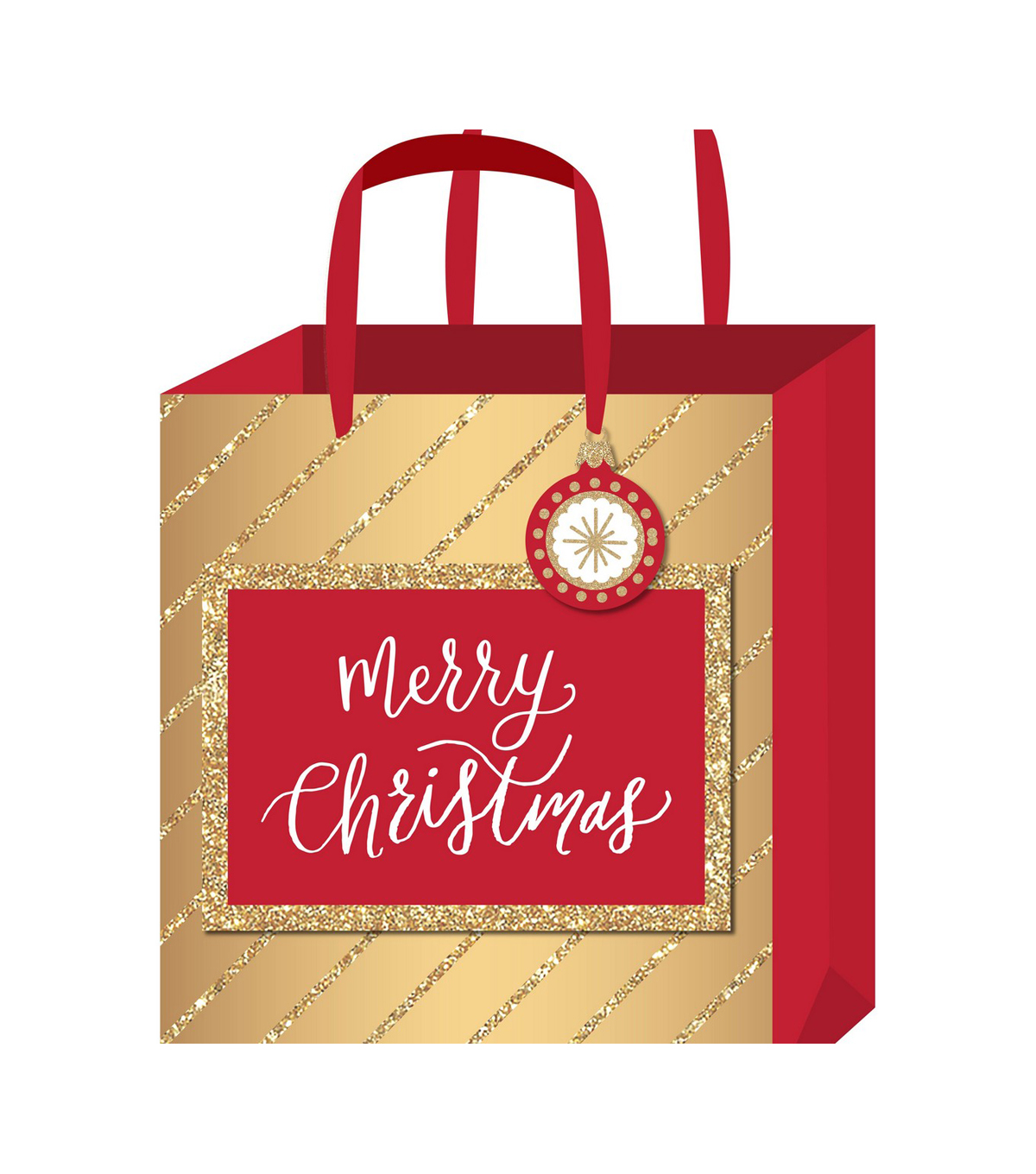 American Crafts Small Gift Bag-Merry Christmas Gold Foil & Glitter
