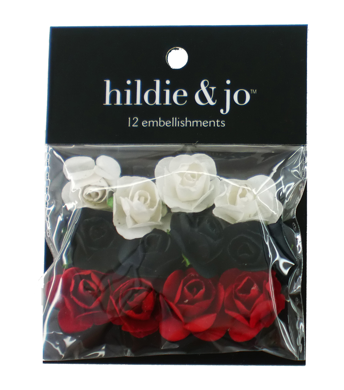 hildie & jo 12 pk Mini Rose Embellishments-White, Black & Red
