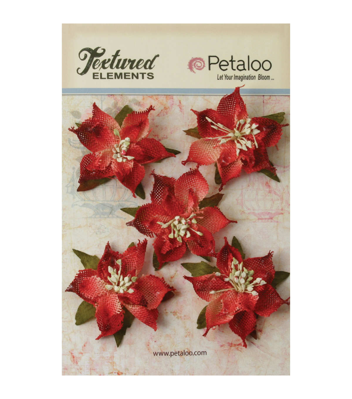 Petaloo Textured Elements Burlap Poinsettias 2.5\u0027\u0027