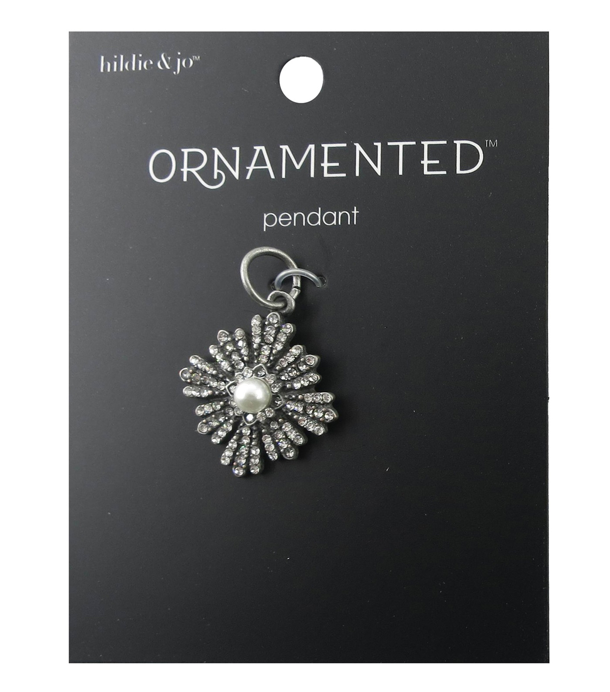 hildie & jo Ornamented Flower Antique Silver Pendant-Pearl