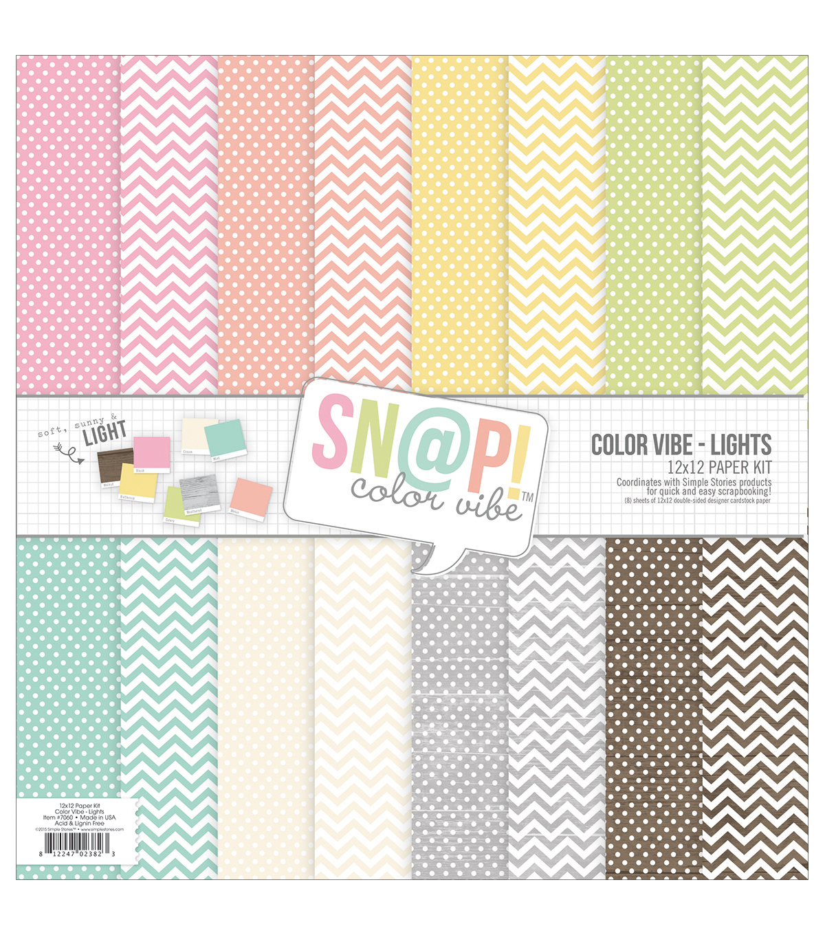 Simple Stories Sn@p! Color Vibe Paper Pack 12\u0027\u0027x12\u0027\u0027