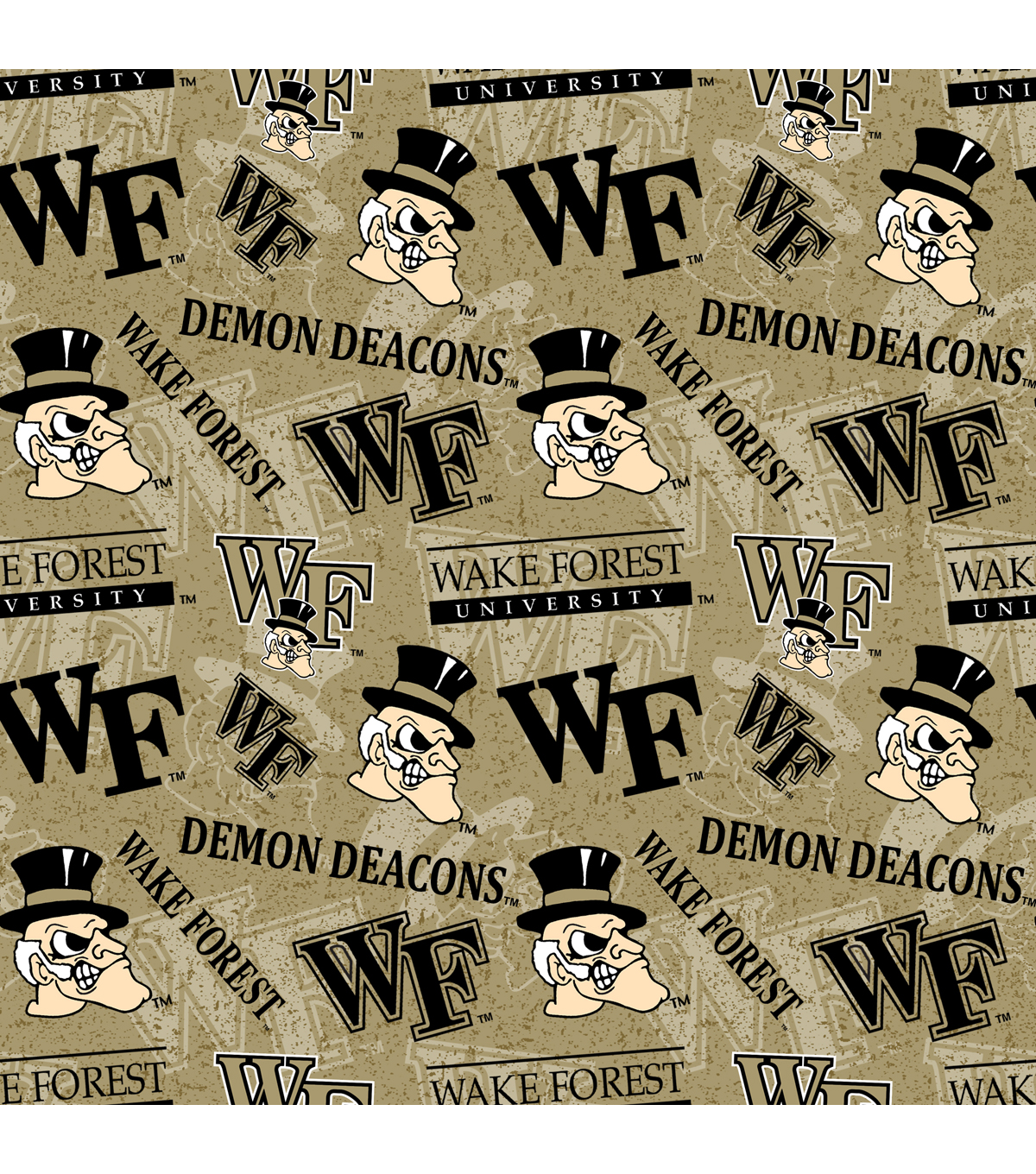 Wake Forest Demon Deacons Cotton Fabric-Tone on Tone