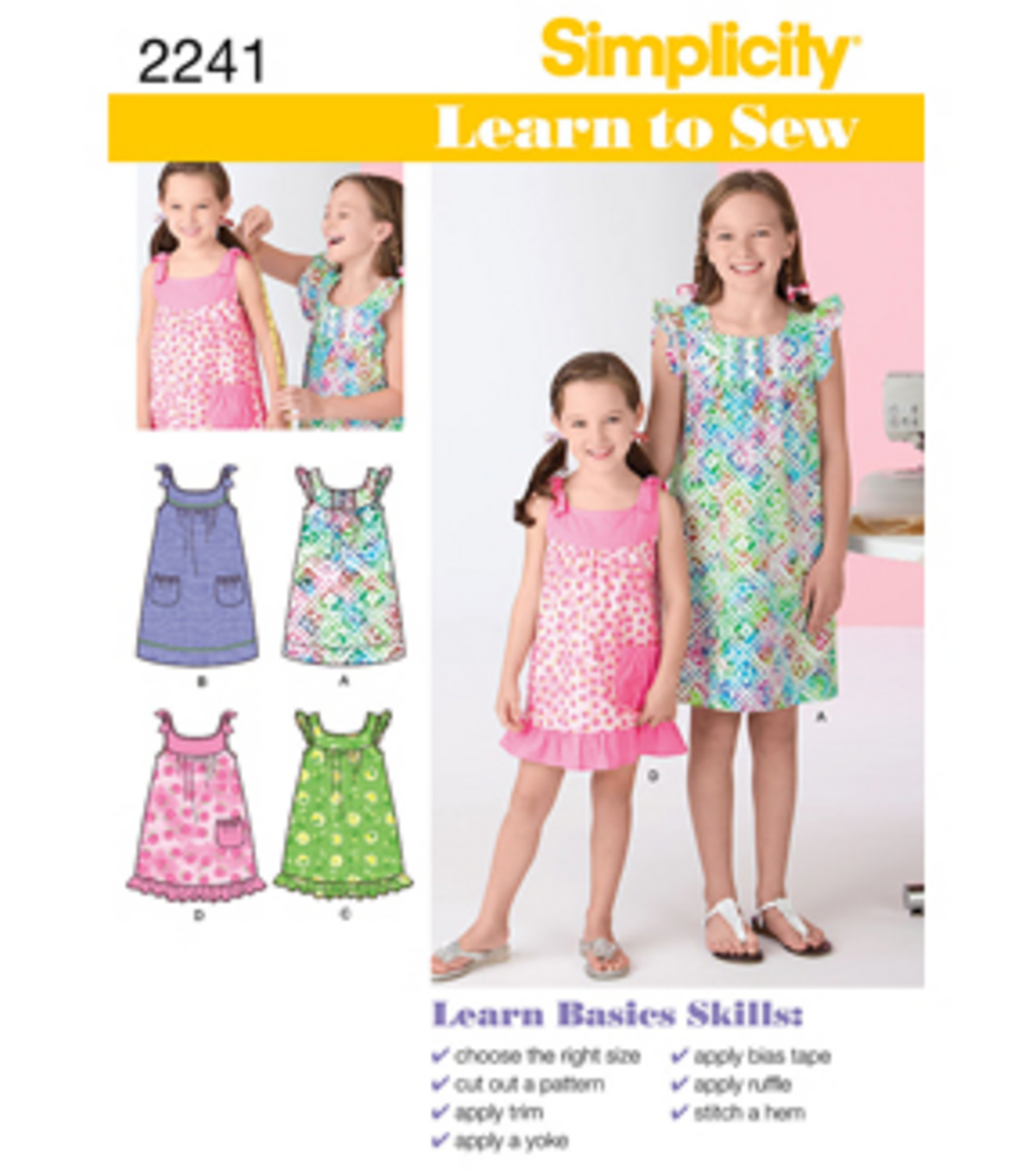Simplicity Pattern 2241K5 7-8-10-12--Simplicity Child Gir