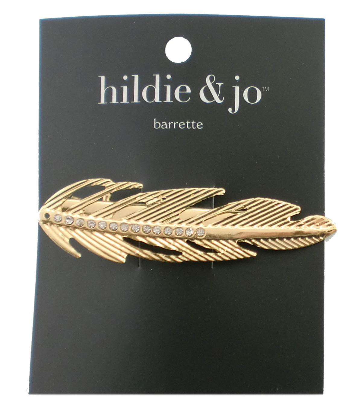 hildie & jo Leaf Gold Barrette-Clear Crystals