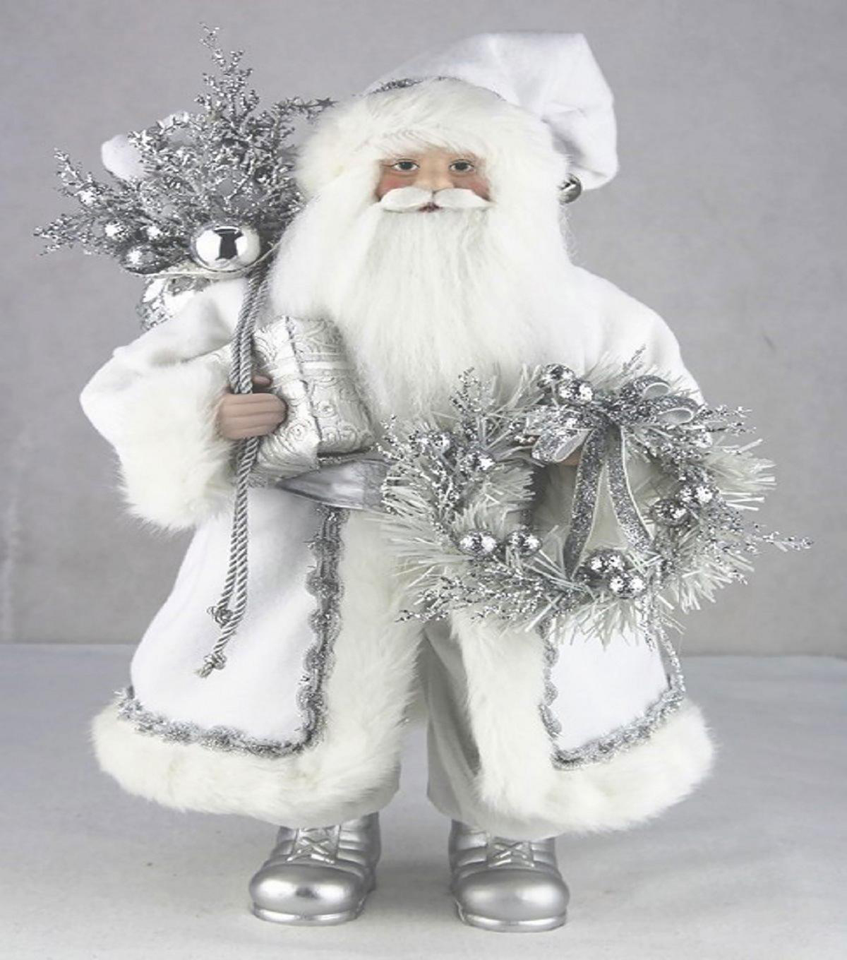 Maker\u0027s Holiday Christmas 17.5\u0027\u0027 Santa with Wreath-Silver