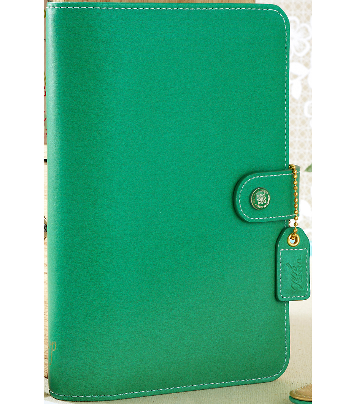 Faux Leather Personal Planner Binder 5.2\u0022X8\u0022-Summer Green