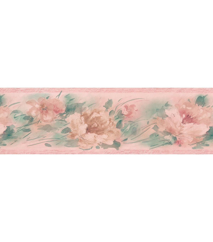 Watercolor Floral Wallpaper Border Pink