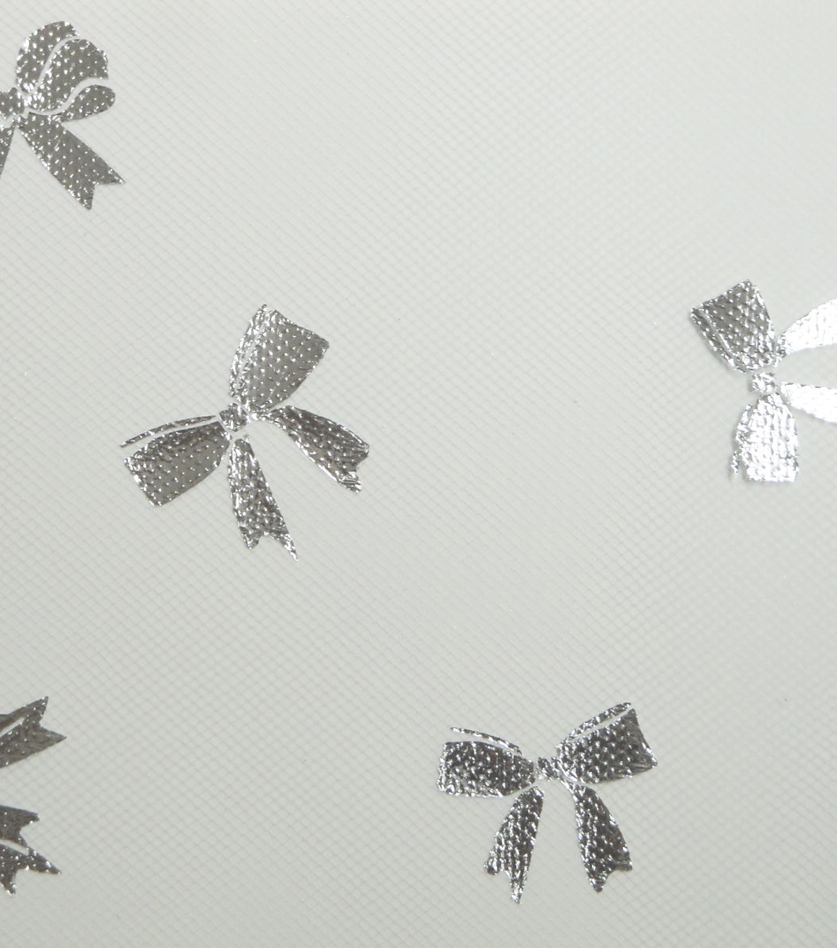 Tulle Fabric 54\u0022-White Foil Bows