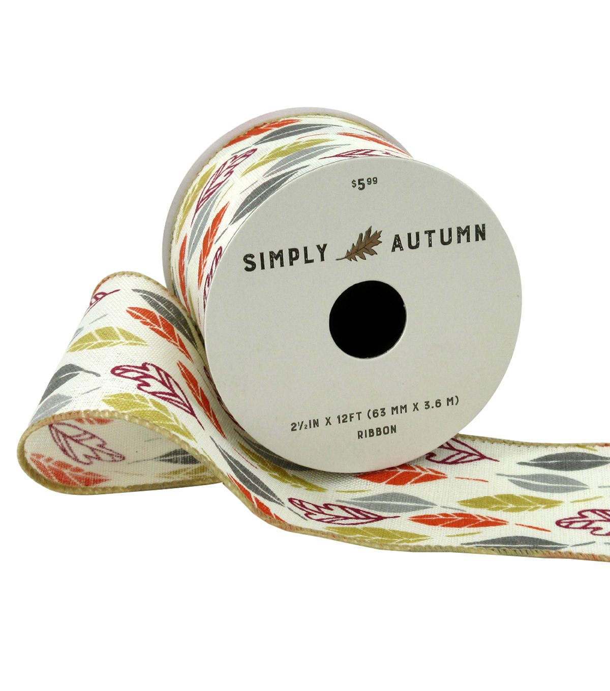 Simply Autumn Ribbon 2.5\u0027\u0027x12\u0027-Colorful Leaves on Ivory