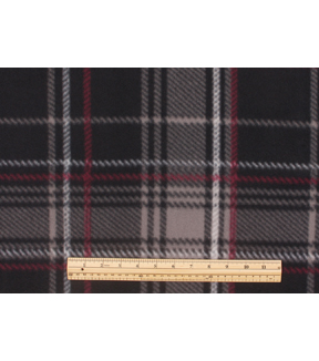 Blizzard Fleece Fabric -Black Red Plaid