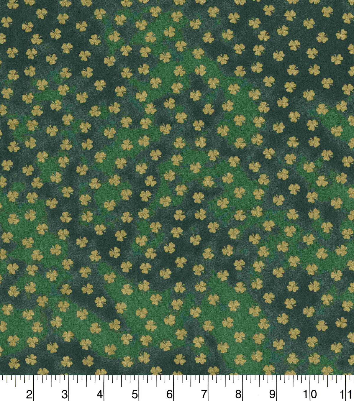 St. Patrick\u0027s Day Fabric -Green Metallic Shamrocks