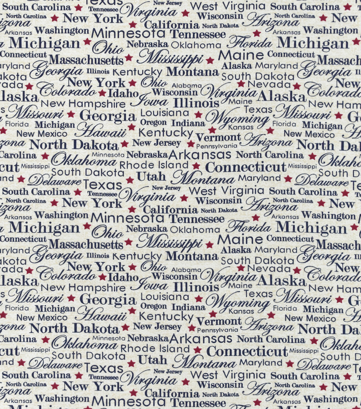 Snuggle Flannel Fabric-State Names