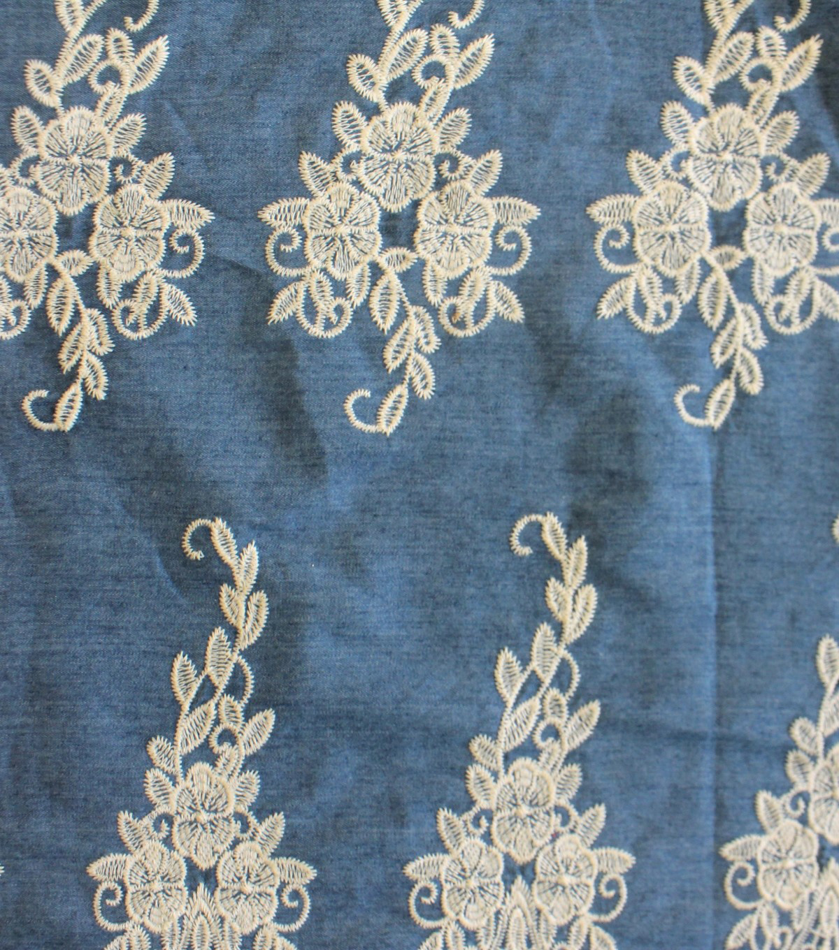 Scalloped Denim Fabric 50\u0027\u0027-Medium Embroidered Floral on Blue