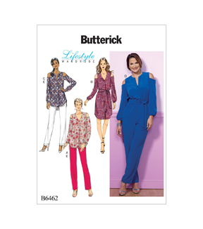 Butterick Pattern B6462 Misses\u0027 Top, Dress, Jumpsuit & Pants-Size 14-22