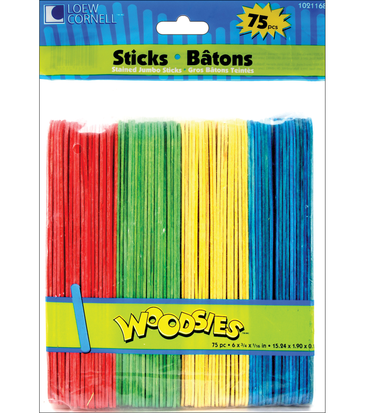 Loew-Cornell Woodsies 75 pk Jumbo Craft Sticks-Assorted Colors